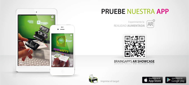 Braingapps AR Showcase es nuestra app de demo de Realidad aumentada, con varios ejemplos de Realidad aumentada aplicados a distintos sectores.